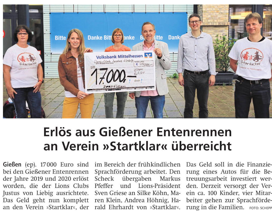 Pressebericht vom 9.12.2017, Gießener Allgemeine: Lions Club spendet 5000 Euro aus Entenrennen